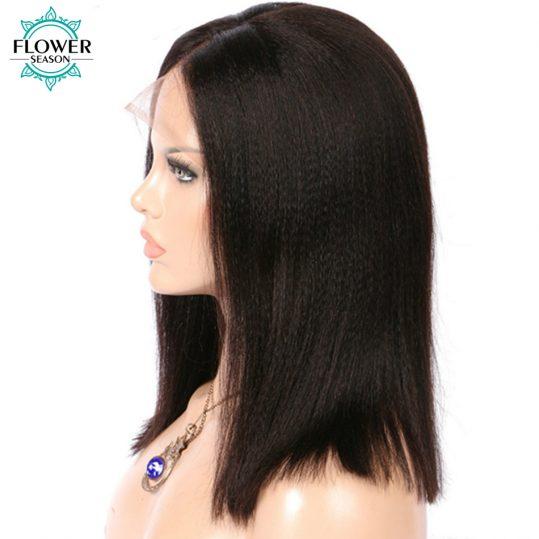 FlowerSeason 130% Yaki Straight Brazilian Non-Remy Short Bob Hair Pre Plucked Natural Hairline Lace Front Wig for Balck Women