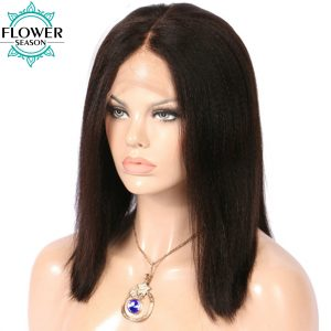 FlowerSeason 130% Yaki Straight Brazilian Non-Remy Short Bob Hair Pre Plucked Natural Hairline Lace Front Wig for Balck Women
