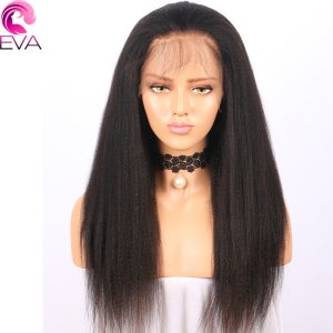 Eva hair Lace Front Human Hair Wigs Pre Plucked Yaki Straight Brazilian Remy Hair Wigs With Baby Hair For Black Women