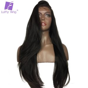 Luffy 180 Density Light Yaki Straight 13*6 Long Space Lace Front Human Hair Wigs Brazilian Non Remy Natural Color Pre Plucked
