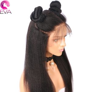 Eva Hair Pre Plucked Full Lace Human Hair Wigs Brazilian Remy Hair Wigs Yaki Straight With Baby Hair For Black Women