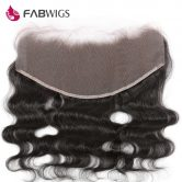 Fabwigs Pre Plucked 13x6 Lace Frontal Closure Bleached Knots Brazilian Body Wave Remy Human Hair Ear to Ear Frontal Freeshipping