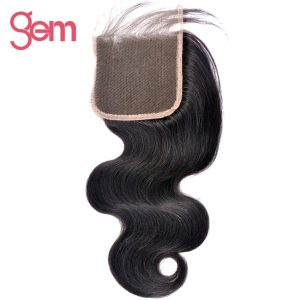 """GEM Beauty Hair Brazilian Body Wave 4""""x4"""" Free Part Lace Closure 100% Remy Hair Human Hair Natural Color 1B Can Be Dyed"""