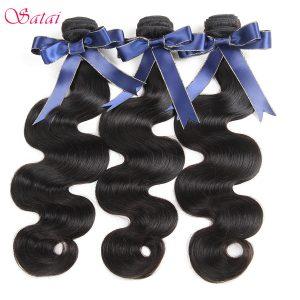 Satai Peruvian Body Wave Hair Extension 1 Piece Remy Human Hair Bundles Natural Black Color 8-28 inch No Tangle