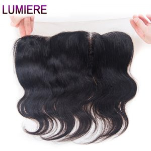 Lumiere Hair Peruvian Body Wave Hair 13x4 Ear to Ear Lace Frontal 100% Remy Human Hair Lace Closure Natural Color Free Shipping