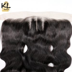 KL Hair Three Part Body Wave 13x4 Ear To Ear Lace Frontal Closure With Baby Hair Peruvian Remy Hair Human Hair Bleached Knots