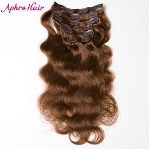Aphro Hair Peruvian Body Wave 7Pcs/Set 70 Gram Clip In Human Hair Extensions Non-Remy Clips In Hair #6 Color Full Head Set