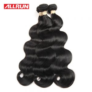 "Allrun Hair Peruvian Body Wave Hair Bundles 1 PCS Non Remy Human Hair Extension Natural Black Can Be Dyed No Tangle 8""-28"""
