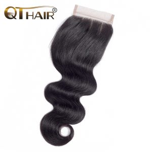 QThair Peruvian Body Wave Lace Closure Three Part 4''x 4'' Remy Hair Closure Natural Color 100% Human Hair Free Shipping