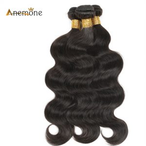 Anemone Human Hair Bundles Peruvian Body Wave 100% Non Remy Hair Extensions Natural Color 1B Hair Weave 1 Piece/lot 8- 30 inches