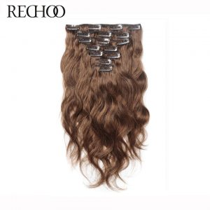Rechoo Body Wave Human Hair Clip In Extensions Full Head Set 16-26 Inches Peruvian Non-remy Hair Clips 7 Pcs Brown 100 Gram