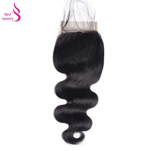 Real beauty Peruvian Body Wave Lace Closure Free Part Remy Hair Bundles 4*4 Swiss Lace with Baby Hair 130% density Free Shipping