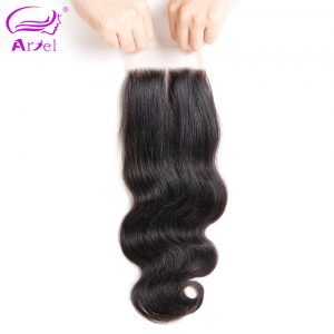 Ariel Peruvian Lace Closure Body Wave Middle Part 4*4 Natural Color Remy Human Hair Closure Free Shipping