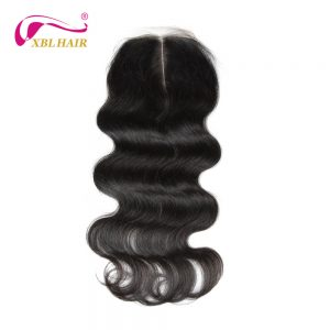 "XBL HAIR Peruvian Hair Body Wave Lace Closure Middle Part 100% Remy Human Hair Natural Color 8-20"" Inches Free Shipping"