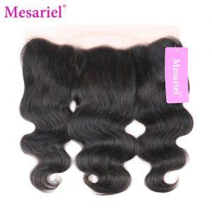 Mesariel Remy Hair 13x4 Lace Frontal Free Shipping Natural Color 100% Human Hair Peruvain Body Wave Closure