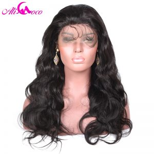 Ali Coco 130% Density Lace Front Wigs Body Wave With Baby Hair Natural Black Color Medium Cap Size