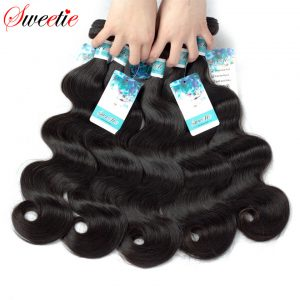 Sweetie Malaysian Hair Body Wave 100% Humam Hair Weave Bundles 1 Piece Long Inch no remy 100g/pc Natural Black Free Shipping