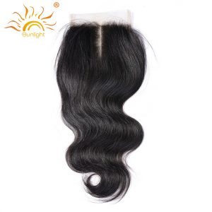 Sunlight Lace Closure Malaysain Body Wave 130% Density Middle Part Hand Tied 100% Remy Hair To Match Hair Bundles Natural Color