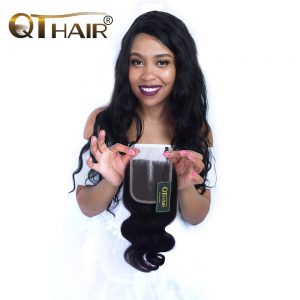 4*4 Pure Hand Tied Swiss Lace Malaysian Body Wave Closure Middle Part 120% Density 8-20 Inch Remy QThair