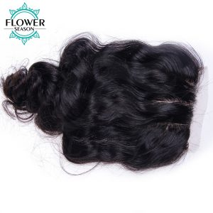 Flower Season Natural Color Body Wave Malaysian Human Hair 4x4 Lace Closure With Baby Hair Three Part Swice Lace Non-Remy Hair