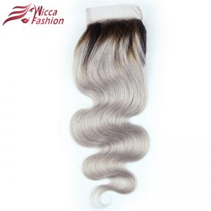 Dream Beauty 1B Grey Body Wave 4*4 Lace Closure With Baby Hair Dark Roots Gray Color Non Remy Malaysian Ombre Human Hair Closure