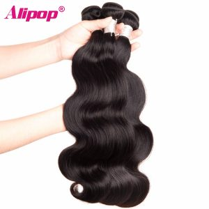 "ALIPOP Malaysian Body Wave Bundles Remy Human Hair Bundles 10""-28"" Double Weft Hair Extension 1 Peice Only Natural Black Weave"