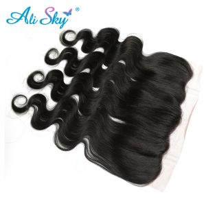 Ali Sky Malaysian nonremy Hair Body Wave Lace Frontal Closure 1pc 13*4 Ear To Ear 8-20 Inch 100% Human Hair Extensions Color 1B#