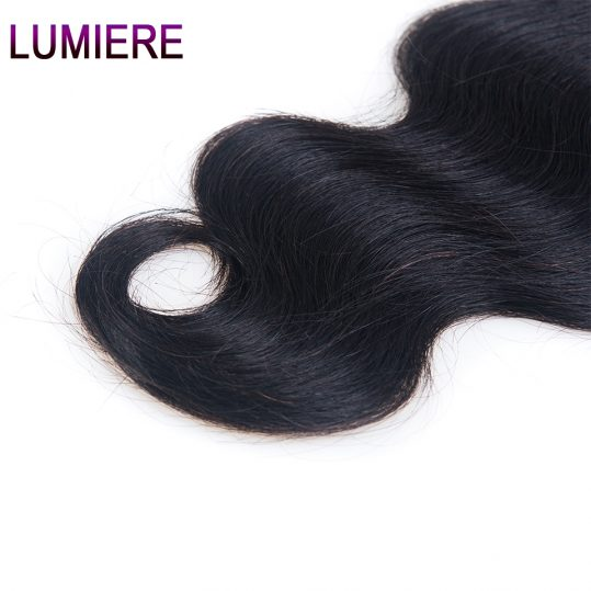 Lumiere Hair Indian Body Wave Hair Closure 4''x 4''Lace Closure Free Part Human Hair One Piece Remy Hair Free Shipping