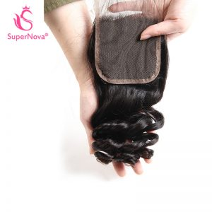 Supernova Brazilian Lace Closure Loose Wave Remy Hair Natural Color 100% Human Hair Free Part 4''x 4'' Free Shipping