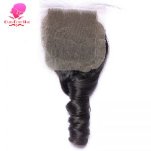QUEEN BEAUTY HAIR Brazilian Lace Closure Loose Wave 4x4 Remy Human Hair Closure Free Part Bleached Knots With Baby Hair