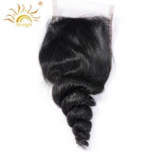 Sunlight Brazilian Loose Wave 4x4 Lace Closure With Free Style 100% Remy Human Hair Bundles Natural Black 8-20inch Free Shipping