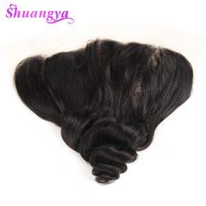 Shuangya Hair Brazilian Loose Wave Hair Lace Frontal Closure 13*4 Inch Free Part 100% Human Hair Non Remy Hair Closure Free Ship