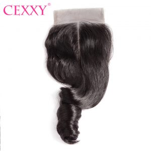 CEXXY Lace Closure Brazilian Loose Wave Remy Hair Natural Color 100% Human Hair Middle Part 4''x 4'' Free Shipping