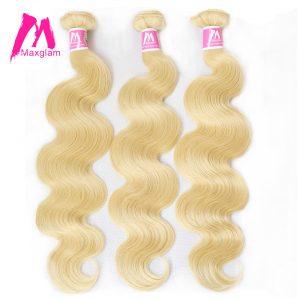 Maxglam 613 Blonde Brazilian Hair Bundles Body Wave Remy Human Hair Weave Extension 1PC Free Shipping