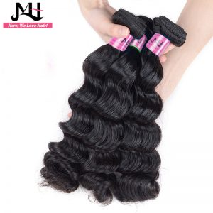 "JVH 100% Human Hair Extensions Remy Hair Bundles 1 Piece/Lot Natural Color 14""- 28""inch Brazilian Loose Wave Hair Weaving"