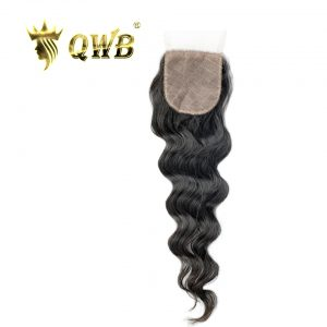 QWB Silk Base Closure Loose Wave 12''/14''/16'' Brazilian Virgin Hair Nature Color Free shipping