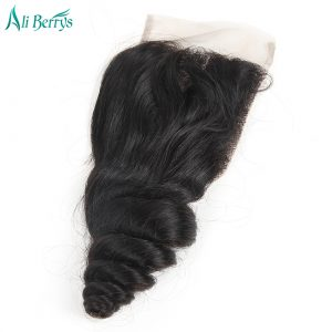 Ali Berrys Hair Loose Wave Brazilian Remy Hair Lace Closure 10-20 Size Natural Black Color 120% Density Hand Tied Free Shipping
