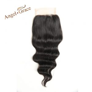ANGEL GRACE Hair Brazilian Loose Wave Closure Free Part 100% Human Hair Natural Color Remy Hair 10-22 Inch Top Lace Closure Hair