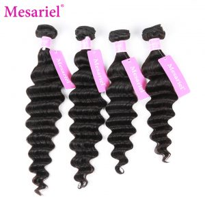 Mesariel Brazilian Loose Wave Human Hair Weave Bundles 10-28inch Non-Remy Hair Natural Color Can be Dyed