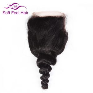 Soft Feel Hair Brazilian Loose Wave Closure 10-22 Inch 4x4 Non Remy Human Hair Lace Closure Natural Color Free Shipping