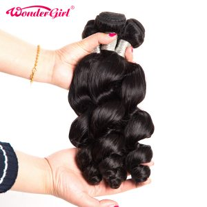 Wonder girl Loose Wave Brazilian Hair Weave Bundles 100g Natural Color Remy Hair Weaving 1PC 100% Human Hair Bundles