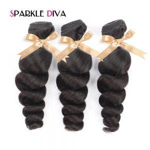 Sparkle Diva Hair Brazilian Loose Wave Hair Bundle 1 Piece 100% Human Hair Weave Bundles 10-28 Inch Natural Color Non-Remy Hair