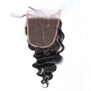 5x5 Lace Closure With Baby Hair Loose Wave Brazilian Remy Hair 100% Human Hair Bleached Knots Closure Honey Queen Free Shipping