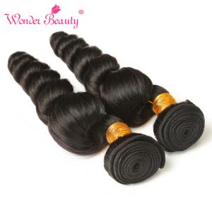 Wonder Beauty Hair Peruvian Loose Wave Remy Hair 100% Human Hair Weave Bundles 100g/Piece 1 Piece Only Natural Color Hair
