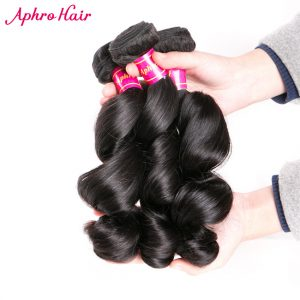 Aphro Hair Peruvian Loose Wave Human Hair Bundles 1Piece Remy Hair Natural Color 100% Hair Extensions Free Shipping 8inch-24inch