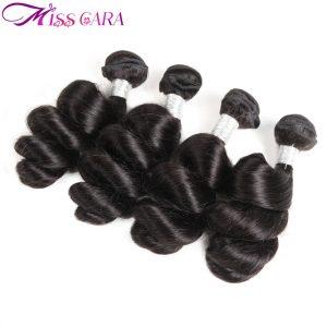 Miss Cara Hair Peruvian Loose Wave Bundles 100% Human Hair Extension Natural Black Color Hair Non Remy Weft Bundle Free Shipping