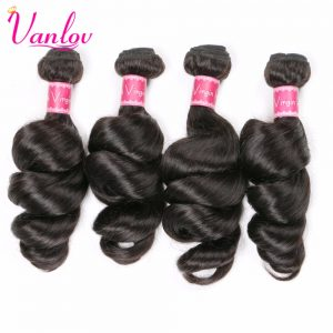 Vanlov Peruvian Hair Loose Wave Bundles Human Hair Weave Bundles Hair Extension Nature Black Non Remy Can Buy 3 or 4 PCS