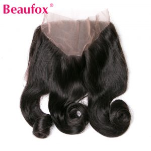 Beaufox 360 Lace Frontal Peruvian Loose Wave Closure With Baby Hair 100% Human Hair Bundle Non-remy Natural Color 8-20 Inch