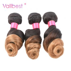 Ombre Weave Hair Peruvian Hair Loose Wave 2 Tone 100% Human Hair Bundles Weaving T1B/27 Vallbest Non-Remy Hair Can Buy 4 Bundles