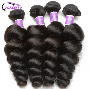 Cranberry Hair Store Peruvian Loose Wave Hair Bundles 100% Human Hair Extensions Natural Hair Weave Bundles 10-26 inch Non Remy